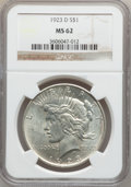 Peace Dollars: , 1923-D $1 MS62 NGC. NGC Census: (380/2171). PCGS Population(592/3306). Mintage: 6,811,000. Numismedia Wsl. Price for probl...
