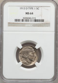 Buffalo Nickels: , 1913-D 5C Type One MS64 NGC. NGC Census: (655/682). PCGS Population(999/1090). Mintage: 5,337,000. Numismedia Wsl. Price f...