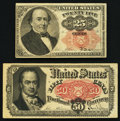Fractional Currency:Fifth Issue, Fr. 1308 25¢ Fifth Issue Fine. Fr. 1381 50¢ Fifth Issue VeryFine+.. ... (Total: 2 notes)