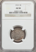 Liberty Nickels: , 1910 5C AU58 NGC. NGC Census: (38/525). PCGS Population (67/596).Mintage: 30,169,352. Numismedia Wsl. Price for problem fr...