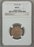 Liberty Nickels: , 1912-D 5C MS61 NGC. NGC Census: (22/626). PCGS Population (8/717).Mintage: 8,474,000. Numismedia Wsl. Price for problem fr...