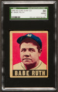 Baseball Cards:Singles (1940-1949), 1948 Leaf Babe Ruth, Magenta Background #3 SGC 30 Good 2....