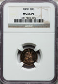 Seated Dimes, 1880 10C MS66 Prooflike NGC. Fortin-103....