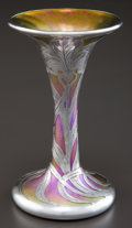 Art Glass:Other , A QUEZAL GLASS VASE WITH ALVIN SILVER OVERLAY . Circa 1900. Marksto glass: Quezal . Marks to silver: A, 999/1000,PAT...