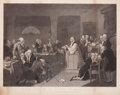 Prints, TOMPKINS H. MATTESON (American, 1813-1884). First Prayer in Congress, 19th century. Engraving. 30-1/2 x 34 inches (77.5 ...