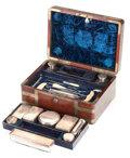 Decorative Arts, British:Other , AN EDWARDS VICTORIAN MAHOGANY AND BRASS GENTLEMAN'S TRAVEL TOILETRYAND WRITING SET WITH EXTENSIVE FITTINGS . 19th century ... (Total:27 Items)