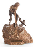 Bronze:European, A TWO PART PATINATED BRONZE FIGURAL GROUP AFTER CARL KAUBA(Austrian, 1865-1922): THE TREASURE SEEKERS (COVERING N...(Total: 2 Items)