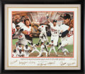 Baseball Collectibles:Others, 1987 Minnesota Twins Multi Signed Giclee Print With SevenAutographs 11/87....