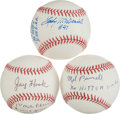 Autographs:Baseballs, Pitching Legends Signed Baseballs With Lengthy Inscriptions Lot Of3....