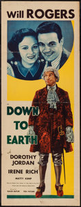 "Movie Posters:Comedy, Down to Earth (Fox, 1932). Insert (14"" X 36""). Comedy.. ..."