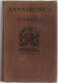 H. G. Wells. Ann Veronica. T. Fisher Unwin, 1909. First edition, first printing. Mild rubbing t