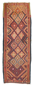 Textiles, A KILIM WOOL RUG. 20th century. 163 x 55-1/2 inches (414.0 x 141.0 cm). The Elton M. Hyder, Jr. Charitable and Educational...