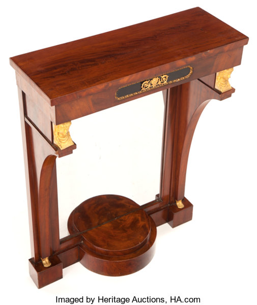A French Empire Style Mahogany And Gilt Bronze Console Table