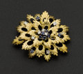 Estate Jewelry:Brooches - Pins, Fine Diamond & Sapphire 18k Gold Brooch. ...