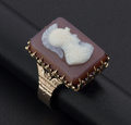 Estate Jewelry:Rings, Antique Hardstone Cameo Sardonic Gold Ring. ...