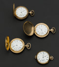 Timepieces:Pocket (post 1900), Three Waltham's Pocket Watches & One Elgin Pendant Watch. ... (Total: 4 Items)