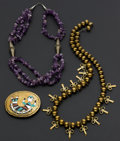 Estate Jewelry:Other , Amethyst & Brass Bead Necklaces & Belt Buckle. ... (Total: 3 Items)