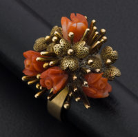 Coral Roses & Gold Ring