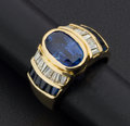 Estate Jewelry:Rings, Gent's Blue Sapphire & 18k Gold Ring. ...