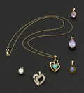 Estate Jewelry:Pendants and Lockets, A Lot Of Six Gemstone Gold Pendants. ... (Total: 6 Items)