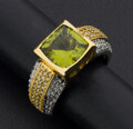 Estate Jewelry:Rings, Gent's Synthetic Green Stone & Diamond Ring. ...