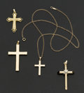 Estate Jewelry:Pendants and Lockets, A Lot Of Four Gold Crosses. ... (Total: 4 Items)