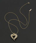 Estate Jewelry:Necklaces, Diamond & Gold Heart Pendant. ...
