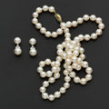 Estate Jewelry:Pearls, Pearl Necklace & Tiffany & Co. Pearl & Diamond Earrings. ...