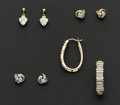 Estate Jewelry:Earrings, A Lot Of Four Gold Earrings. ... (Total: 4 Items)