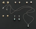 Estate Jewelry:Earrings, Five Pair Of Pearl Earrings & One Pearl Pendant. ... (Total: 6Items)