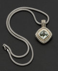 Estate Jewelry:Necklaces, Silver & Gold Green Amethyst Pendant & Chain. ...