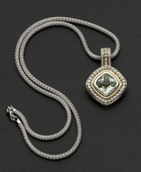 Silver & Gold Green Amethyst Pendant & Chain