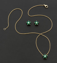 Diamond & Emerald Gold Star Necklace & Earrings