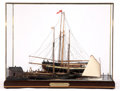 Maritime:Decorative Art, WILLIAM HITCHCOCK SCALE MODEL DIORAMA OF CONTENDERS ON THE WAYS .18-1/2 x 24 x 14 inches (47.0 x 61.0 x 35.6 cm). ...