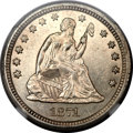 Seated Quarters, 1871-S 25C AU58 NGC....