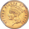 Three Dollar Gold Pieces, 1884 $3 XF45 NGC. CAC....