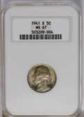 Jefferson Nickels: , 1941-S 5C MS67 NGC. NGC Census: (83/0). PCGS Population (1/0).Mintage: 43,445,000. Numismedia Wsl. Price: $55. (#4012)...