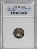 Early Half Dimes: , 1803 H10C Large 8--Damaged--ANACS. VG8 Details. NGC Census: (1/47).PCGS Population (1/81). Mintage: 37,850. Numismedia Wsl...