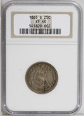 Seated Quarters: , 1865-S 25C XF40 NGC. NGC Census: (2/24). PCGS Population (2/15).Mintage: 41,000. Numismedia Wsl. Price: $445. (#5462)...