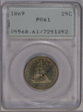 Proof Seated Quarters: , 1869 25C PR61 PCGS. PCGS Population (12/119). NGC Census: (7/108).Mintage: 600. Numismedia Wsl. Price: $333. (#5568)...