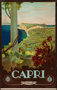 """Capri, Italy Travel Poster by Cario Borgoni (ENIT, Late 1920s-Early 1930s). Poster (25"""" X 40.5""""). Miscellaneou..."""