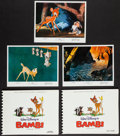 """Movie Posters:Animation, Bambi (Buena Vista, R-1975). Mini Lobby Cards (3) (8"""" X 10"""") andPhoto Sketchbooks (2) (8.75"""" X 11). Animation.. ... (Total: 5Items)"""