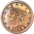 Proof Braided Hair Half Cents, 1852 1/2 C Restrike, Small Berries PR64 Red and Brown PCGS. FirstRestrike, B-2, R.4....