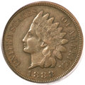 Indian Cents, 1888/7 1C XF40 PCGS. CAC. FS-301, Snow-1....
