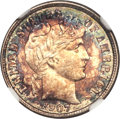 Barber Dimes, 1907-D 10C MS67 NGC. CAC....