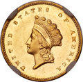 Gold Dollars, 1856-S G$1 Type Two MS64 NGC. CAC....