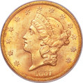 Liberty Double Eagles, 1857-S $20 MS65 PCGS. Variety 20A....