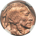 Errors, 1920 Buffalo Nickel -- Struck on a Cent Planchet -- MS65 Red and Brown NGC....