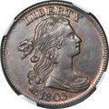 Large Cents, 1803 1C Small Date, Large Fraction MS61 Brown NGC. S-258, B-17,R.1....