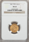 Liberty Quarter Eagles, 1861 $2 1/2 New Reverse, Type Two MS64 NGC....